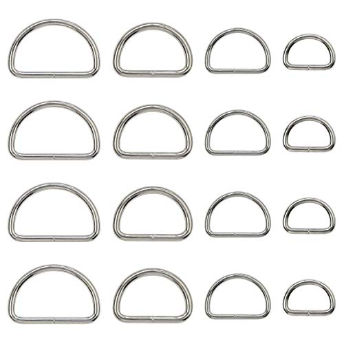 - Metal D Ring Non Welded D-Rings Nickel Plated Silver Assorted 0.5 Inch, 0.75 Inch, 1 Inch, 1.25 Inch (100 Pack)