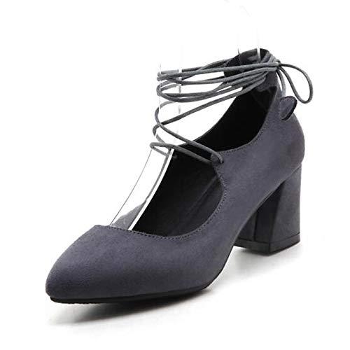 Heel Mujer Zapatos Black Gray Chunky Almond Basic Pump Gray Poliuretano ZHZNVX PU de Spring Tacones SHpBAwaq
