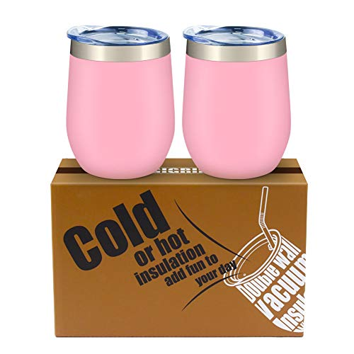 Wine Tumbler, GIGRIN Stainless Steel Wine Glass with Lid and Straw, Double Wall Insulated Tumbler with Beautiful Packaging for Coffee, Drinks, Champagne, Cocktails (2Pack, Pink)]()