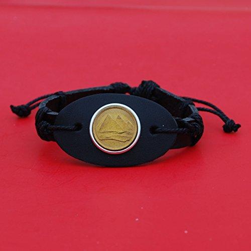 Wristband Pyramid (Egypt 1984 1 Piastre Gold Pyramids Gem BU Uncirculated Coin Genuine Black Leather Cuff Bangle Wristband Bracelet NEW)