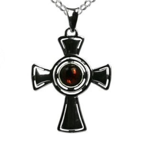 Amber Sterling Silver Cross Pendant Rolo Chain 18