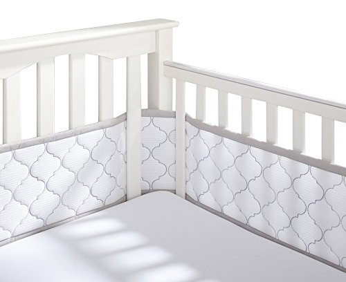 BreathableBaby Ultra Luxe Mesh Crib Liner, White/Gray