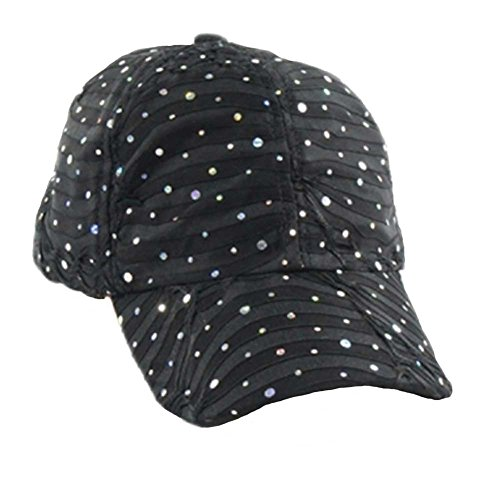 Glitter Sequin Baseball Cap Bling Bling Cap or Hat (Black) (Baseball Hat Rhinestone Black)