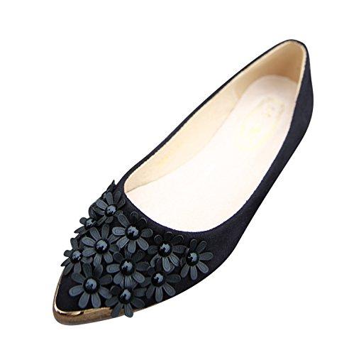 Smilun Women's Classic Ballerina Flat Ballet Flowers Shiny Metalic Pointed Toe Black
