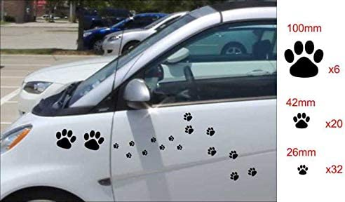 N.SunForest Set of 58x Cat Dog Paw Prints Paws Vinyl Decals Stickers Car Vehicle Decoration