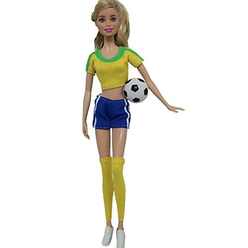 Copa del Mundo de amyove ropa de muñecas hembra futbolista ropa de muñecas muñeca Accesorios calcetines de deporte +...