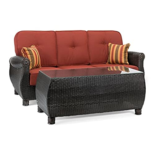 La Z Boy Outdoor Breckenridge Resin Wicker Patio Furniture Sofa With  Pillows And Coffee Table Set (Brick Red) With All Weather Sunbrella Cushions