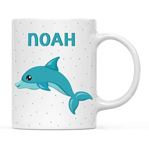 Andaz Press Personalized 11oz. Kids Milk Hot Chocolate Mug, Blue Dolphin, 1-Pack, Custom Child's Birthday Christmas Coffee Cup