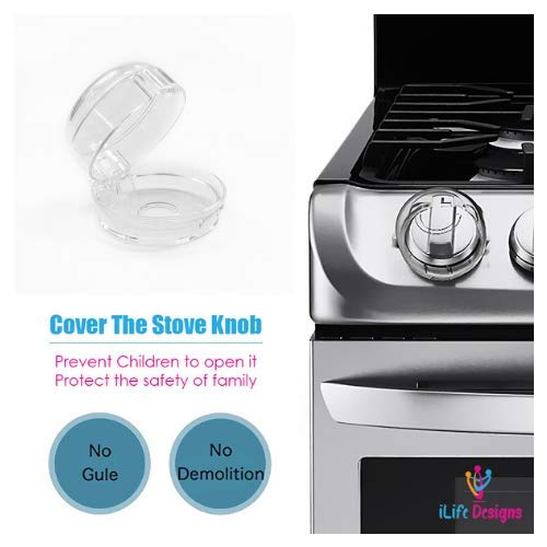 iLife Designs Gas Stove Knob Safety Covers | Baby Proofing Gas Stove | Toddler Child Proofing Safety Lock | Clear Knob Covers for Gas Stoves Oven Range Grill | Safety Locks