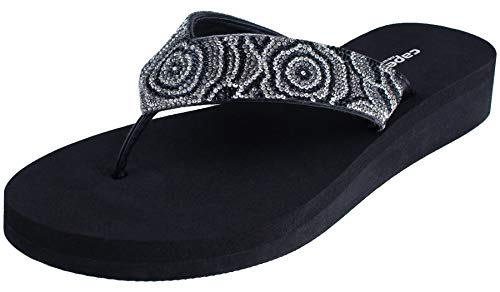 Capelli New York Ladies Flip Flops with Multi Crystal Embellishment Jet Black ()