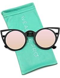 Womens Cateye Retro Fashion Retro Round Lens Cat Eye...