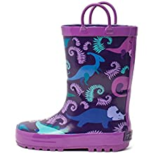 Timbee Boys and Girls Rubber Rain Boot in Solid Fun Colors with Easy on Handles