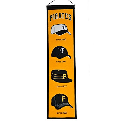 Winning Streak Fan Shop Authentic MLB Heritage and Baseball Team Felt Embroidered Logo Banner. Office, Bar or Man Cave (Pittsburgh Pirates)