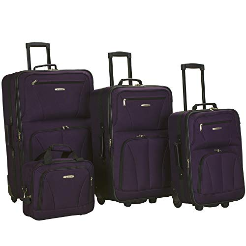 Rockland Journey Softside Upright Luggage Set, Purple, 4-Piece (14/19/24/28)