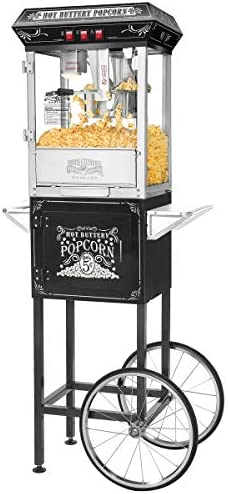 5810 Great Northern Black Good Time 8oz Full Popcorn Popper Machine w Cart, 8 Ounce
