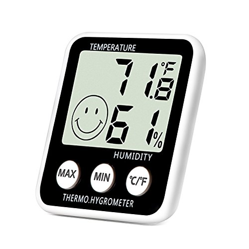 Lcd Temperature Thermometer (Digital Thermometer Indoor Hygrometer Humidity Meter Temperature Monitor Large LCD Display Max/Min Records for Home Car Office by SoeKoa)