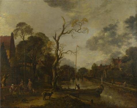 The High Quality Polyster Canvas Of Oil Painting 'Aert Van Der Neer - A View Along A River Near A Village At Evening,1660s' ,size: 16x20 Inch / 41x51 Cm ,this High Resolution Art Decorative Canvas Prints Is Fit For Laundry Room Decor And Home Gallery Art And Gifts