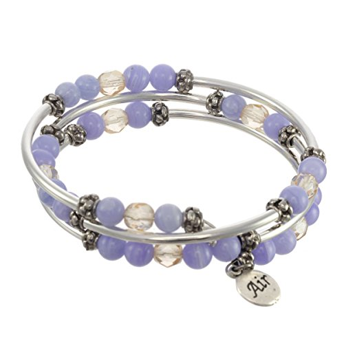 (Elements Triple Coil Metal & Gemstone Bracelet (Air Element))