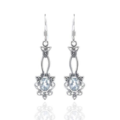925 Oxidized Sterling Silver Celtic Knot Oval Blue Topaz Dangle Earrings - Nickle (Sterling Silver Oval Celtic Knot)