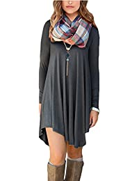 Womens Long Sleeve Casual Loose T-Shirt Dress