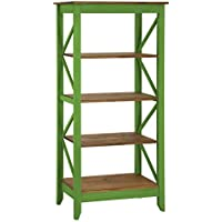 Manhattan Comfort Jay Collection Modern Accent 4 Shelf Open Tier Pattern Wooden Bookcase, Green/Wood