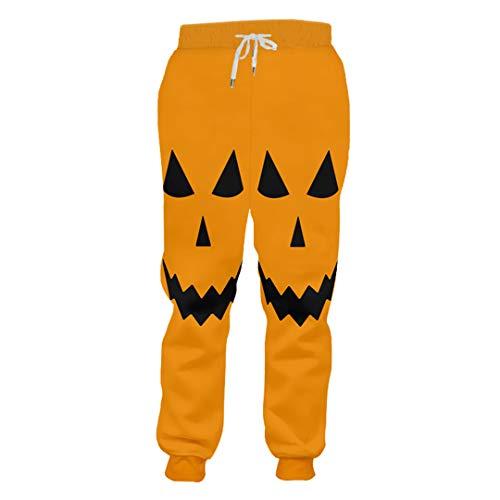 Man 3D Printed Funny Human Face Pumpkin Pattern Wholesale Men's Pants Halloween Pumpkin L