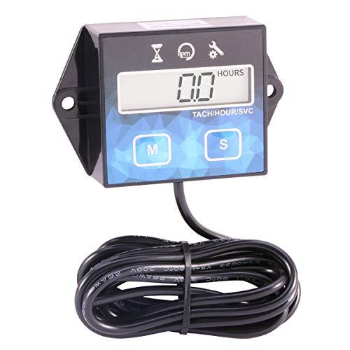 Digital Tachometer Maintenance Hour Meter Tach for Motorcycle ATV UTV Boat Generator Mower -