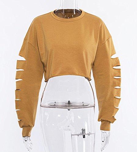 Cass Rond Blouse Hauts Jumpers Sweat Pulls Femmes Tops Mode Pullover Manches Trou Longues Kaki Shirts Col Crop qZw8nnRpt