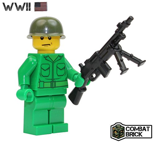 WWII US Army Soldier with WW2 BAR Light machine gun - Custom Military Brick Builder Minifigure by CombatBrick