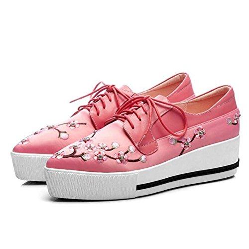 Rosa tacchi Scarpe Womens Ladies Primavera Up GAOLIXIA rosa nero Zeppe Lace Shoes in Platform ricamata albicocca alti pelle g1nwqT
