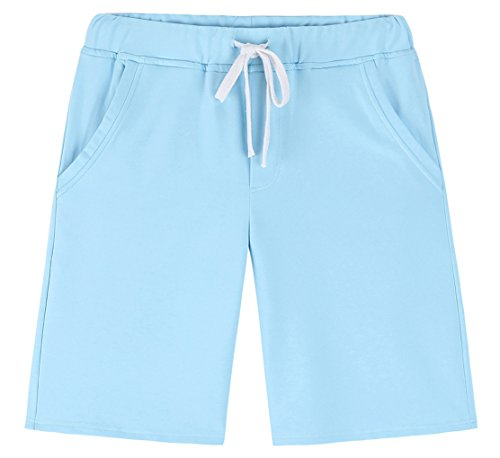 Sky Blue Shorts - Janmid Men's Casual Classic Fit Cotton Elastic Jogger Gym Shorts (Sky Blue, L)