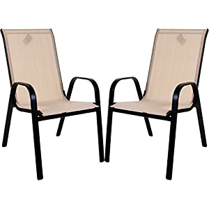 Marko Outdoor Stacking Textoline Chair Black Outdoor Bistro High Back Seating Restaurant Cafe (2 Chairs, Cream)