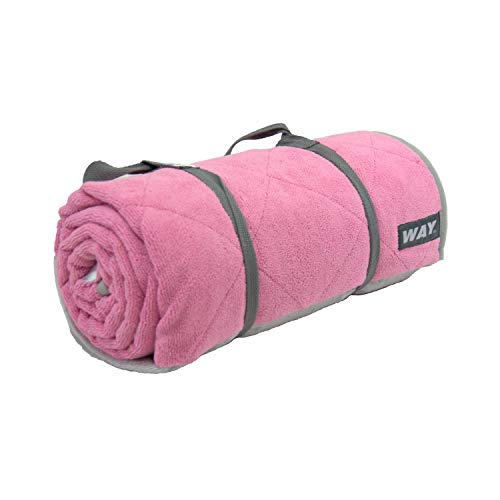 WAYmat Core Exercise Mat – Thick All-Purpose Non-Slip Yoga Towel Mat, Perfect for Hot Yoga, Bikram and Pilates (Pink)