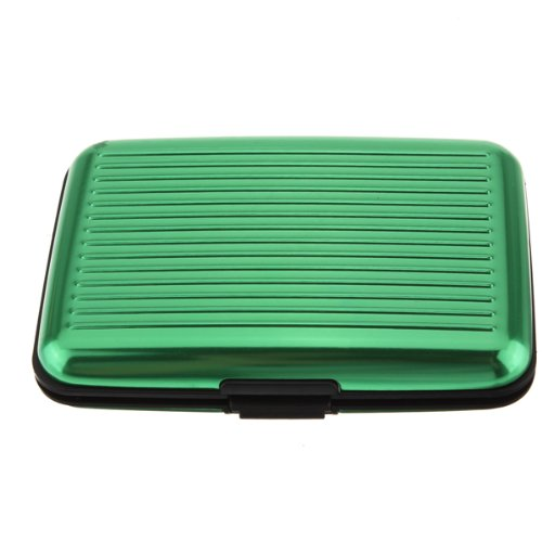 Business Id Credit Card Holder Wallet Aluminum Metal Case Box (Green) Exciting 43704