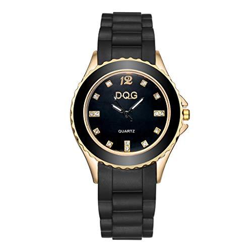 Fxbar Soft Silicone Rubber Strap Women Bracelet Watches Quartz Crystal Analog Wrist Watch Dress Watch(Black)