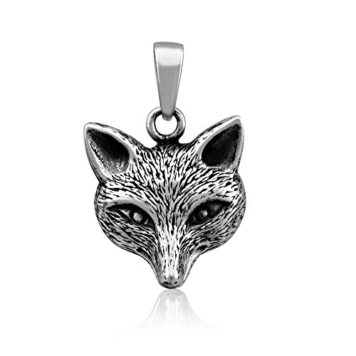 Sterling Silver 925 Cute Fox Head Pendant (Sterling Silver Wolf Head Charm)