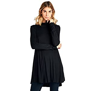 12 Ami Solid Turtleneck High Low T-Shirt Tunic Top (S-XXXL) – Made in USA
