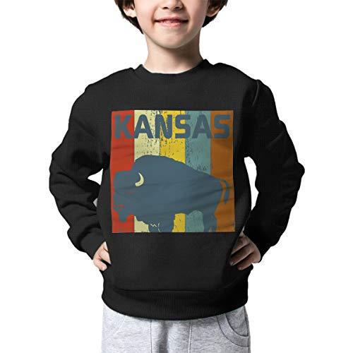 Vintage Retro Kansas State Buffalo 70s Printed Baby Boys Kids Crew Neck Sweater Long Sleeve Soft Knit Jumper Top ()