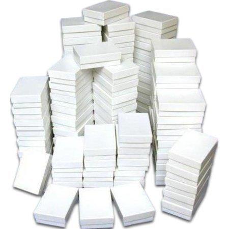 "Thasaba 100 Cotton Boxes White Pendant Chain Jewelry Displays 3.25"""