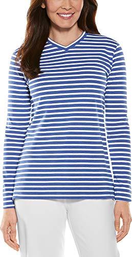 Coolibar UPF 50+ Women's Everyday V-Neck T-Shirt - Sun Protective (X-Small- Empire Blue/White Stripe)
