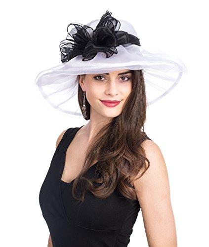 SAFERIN Women's Organza Church Kentucky Derby Fascinator Bridal Tea Party Wedding Hat (White with Black -