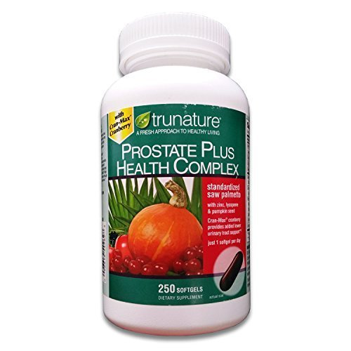 TruNature Prostate Plus Health Complex - Saw Palmetto with Zinc, Lycopene, Pumpkin Seed - 250 Softgels by TruNature