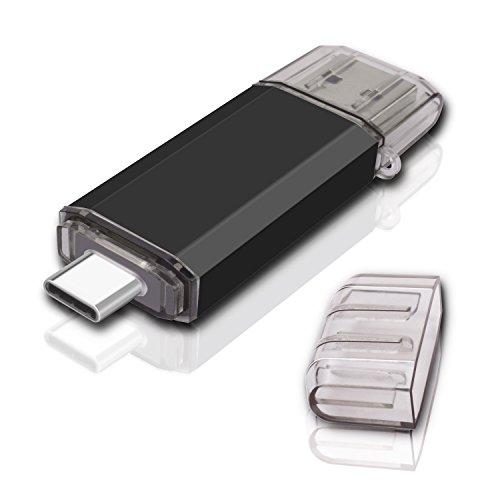 KEXIN 64GB Type C USB 3.0 Flash Drive High Speed USB Dual Drive 2 in 1 OTG Jump Drive for USB-C Smartphones Tablets, New Macbook, Samsung Galaxy S8, S8 Plus, Note 8, LG G6, V30, Google Pixel XL, Black