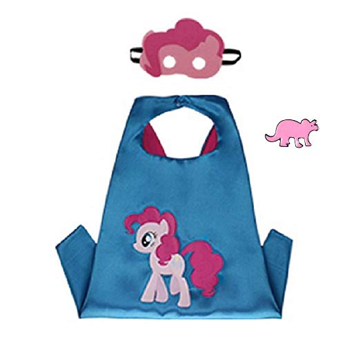 Superhero Cape and Mask Costume for Kids with Pin (Pinkie Pie)