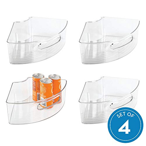 iDesign Plastic Lazy Susan Cabinet Storage Bin, 1/4 Wedge Container for Kitchen, Pantry, Counter, BPA-Free, 12.56