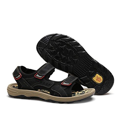 ZJM aperte Sandalo dimensioni da 40 sportivi scarpe pelle all'aperto Marrone antiscivolo vera uomo Colore morbidi in Nero Sandali estate rraHnqx