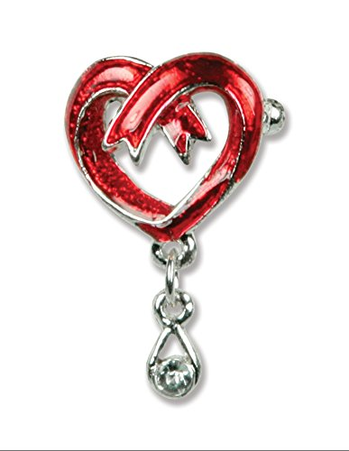 Life Sympathy Bouquet (Bouquet Pin Memorial and Sympathy Red Ribbon Heart with Teardrop Jewel)