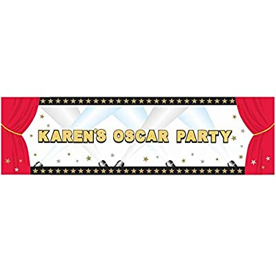 "Hollywood Personalized Giant Sign Party Banner, 120 stickers, 65"" X 20"": Kitchen & Dining"