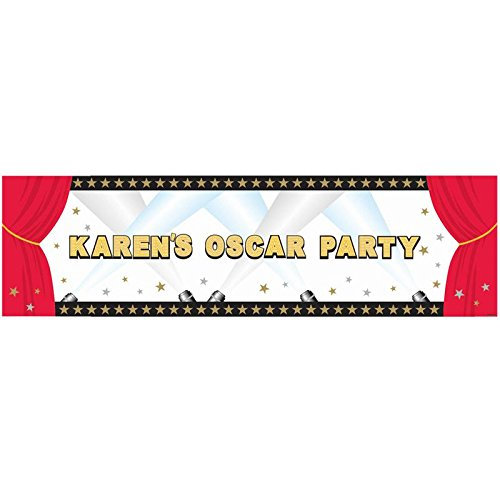 "Wholesale Amscan Elegant Hollywood Personalized Giant Party Sign Banner, 65"" x 20"", Black/Red"