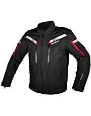 All Seasons Waterproof Motorcycle Riding Jacket,Removable CE Armored Hi-Vis Reflective Thermal Motorbike Jacket for Men (2XL, Black)